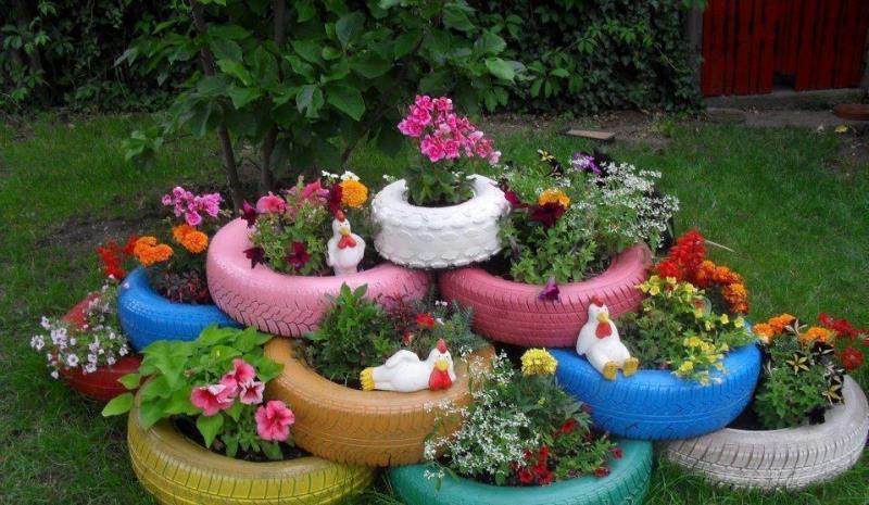 шини, декор, дизайн, сад, растения, декорирование, вазон, горшок,