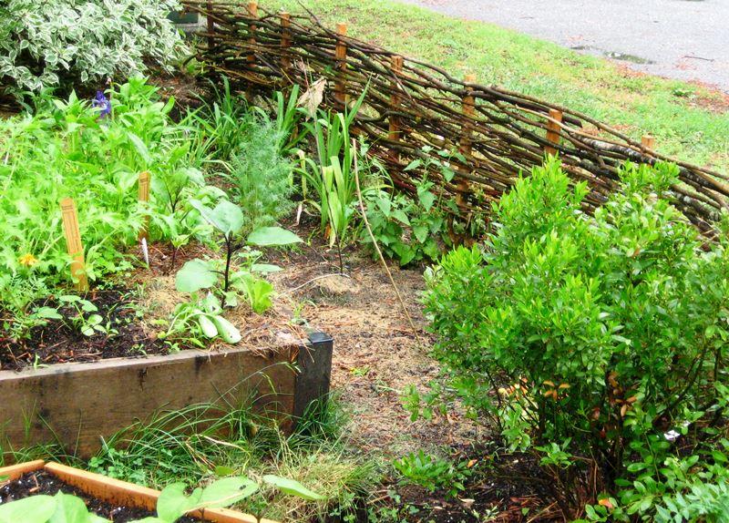 забор, ветки, дизайн, декор, сад, растения, горшки