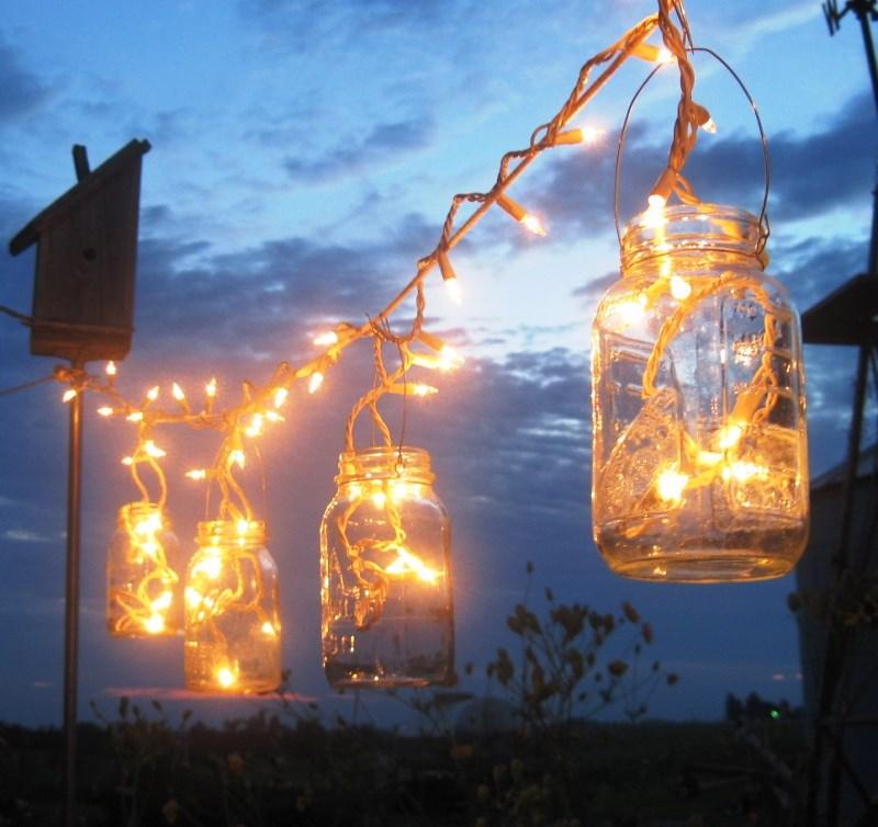 банки, свечи, свет, освещение, сад, растения, цветы, советы, уют, комфорт, красота, декор, дизайн